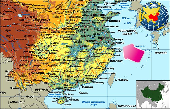 Расположение Шанхая